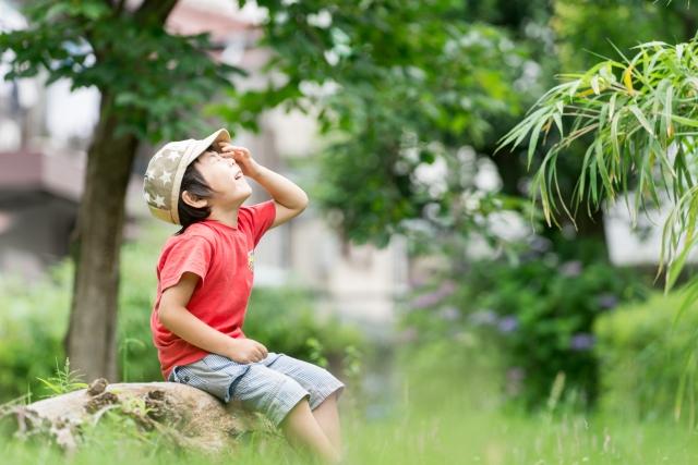 公園で何かを探す子供